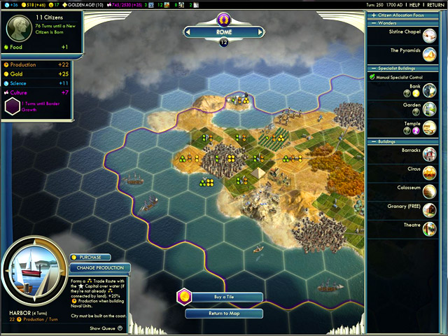 Interface de Civilization 5